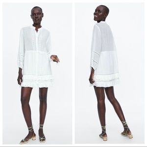 NWT. Zara Ivory Mini Dress with Frills. Size M.